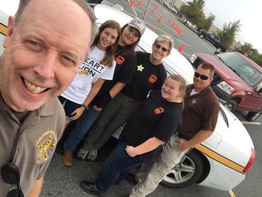 Deputies with citizens and students